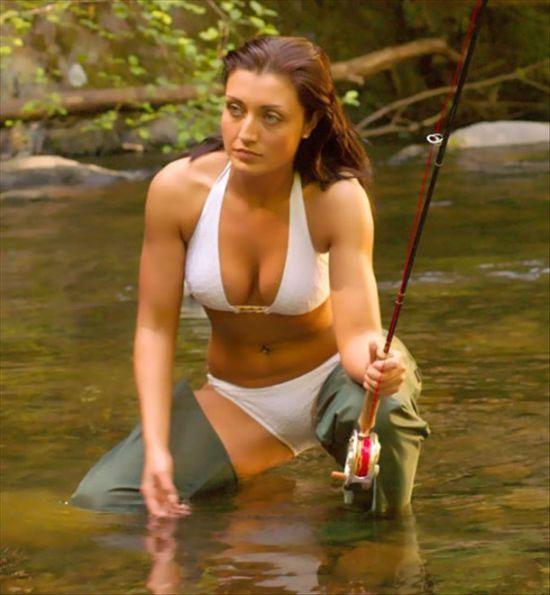 Nude girls fishing
